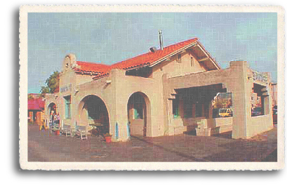 The historic Santa Fe Railroad Depot now sits in the middle of a gentrified commercial area and public park known as the Railyard District near downtown Santa Fe, New Mexico. Tourist trains still run regularly to Lamy, about 20 miles southeast of the City Different.