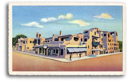 This vintage postcard depicts the La Fonda Hotel in downtown Santa Fe, New Mexico, circa 1922. Built on the site that was known as the end of the Santa Fe Trail, this historic adobe architectural masterpiece and landmark is one of the most popular destinations for locals and tourists alike. There's always something interesting going on at the La Fonda!
