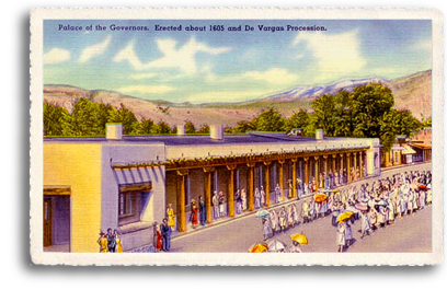 This vintage postcard depicts a parade known as the De Vargas Procession taking place in front of the Palace of the Governors in downtown Santa Fe, New Mexico. Just north of the Santa Fe Plaza, this adobe structure was erected around 1605 and is steeped in New Mexico history.